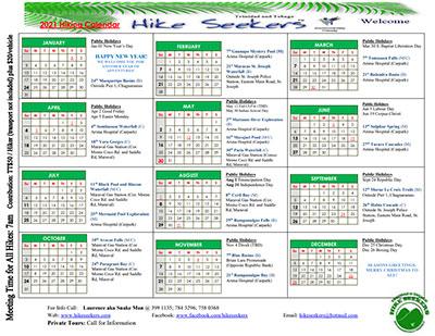Hikeseekers 2021 Calendar