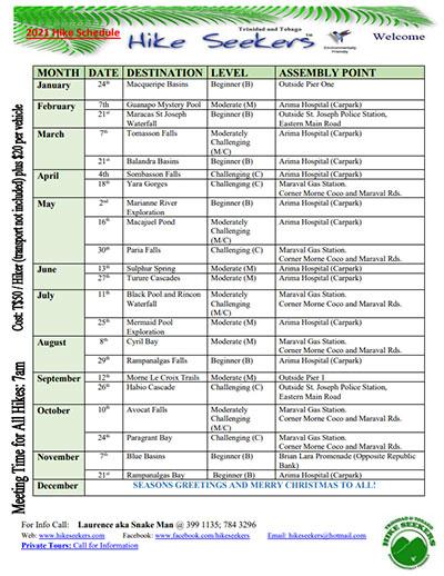 Hikeseekers 2021 Schedule